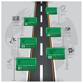 pic of road trip  - Road And Street Traffic Sign Business Travel Infographic Design Template - JPG