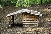 picture of wooden shack  - Wooden shelter for farm animals in outdoor. ** Note: Visible grain at 100%, best at smaller sizes - JPG