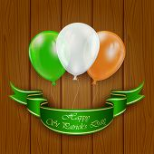 picture of irish flag  - Patricks day background wih three balloons in the colors of the Irish flag on wooden background - JPG