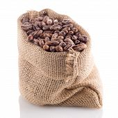image of pinto  - Closeup of Pinto beans bag on white background - JPG
