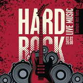 pic of hard-on  - Banner with an electric guitar speakers and the words Hard Rock - JPG