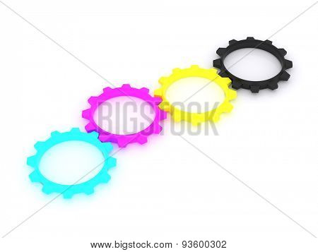 CMYK, Cyan, Magenta, Yellow, Key, in the form of gears. the concept of print settings. 3d