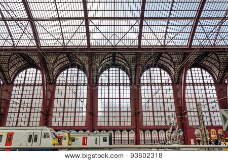 Antwerp, Belgium - May 11, 2015: People In Antwerp Central Station.