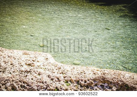 inland lake surrounded by rocks, landscape with forests in Valencia, Spain