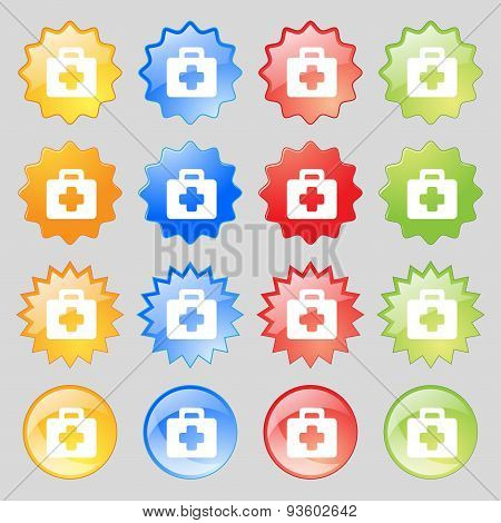 First Aid Kit Icon Sign. Set From Fourteen Multi-colored Glass Buttons With Place For Text. Vector