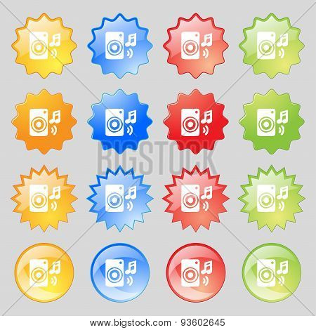 Music Column, Disco, Music, Melody, Speaker Icon Sign. Set From Fourteen Multi-colored Glass Buttons