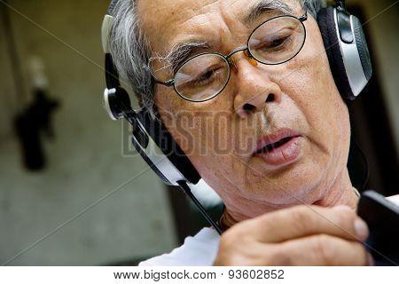 Senior man relaxing at home