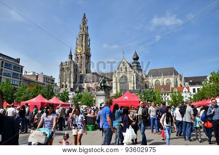 Antwerp, Belgium - May 10, 2015: People Visit Thailand Festival At Groenplaats, of Antwerp