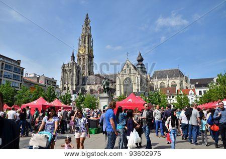 Antwerp, Belgium - May 10, 2015: People Visit Thailand Festival At Groenplaats, of Antwerp