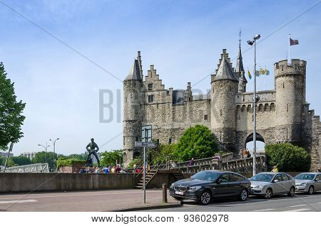 Antwerp, Belgium - May 11, 2015: People Visit Steen Castle (het Steen), Antwerp, Belgium.
