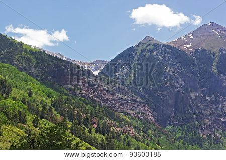 Mountains surrounding Telluride Colorado in summer.