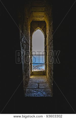 window, old Spanish fortress castle made of stone