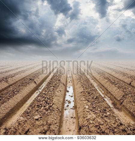 Soil Preparation On Field And Rainclouds