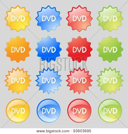 Dvd Icon Sign. Set From Fourteen Multi-colored Glass Buttons With Place For Text. Vector