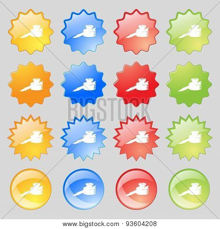 Pen And Ink Icon Sign. Set From Fourteen Multi-colored Glass Buttons With Place For Text. Vector