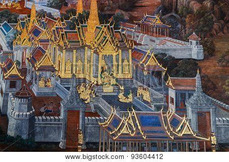 Mural Paintings at Wat Phra Kaew in Bangkok, Thailand