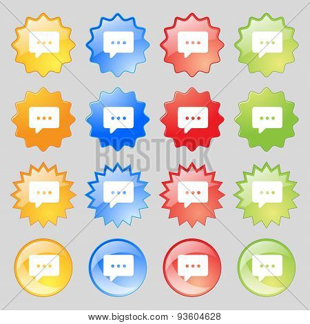 Cloud Of Thoughts Icon Sign. Set From Fourteen Multi-colored Glass Buttons With Place For Text. Vect