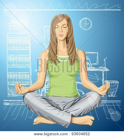 Vector woman meditating in lotus pose in office