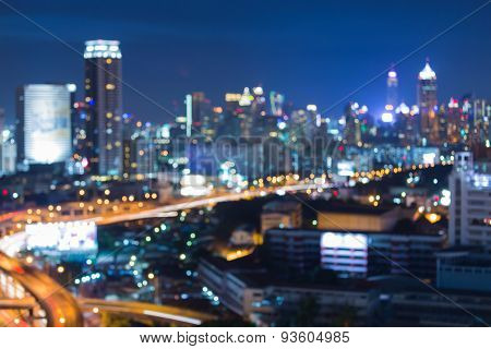 City highways lights night background