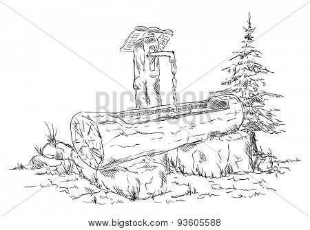 vector - Wooden waterhole in nature - isolated on background