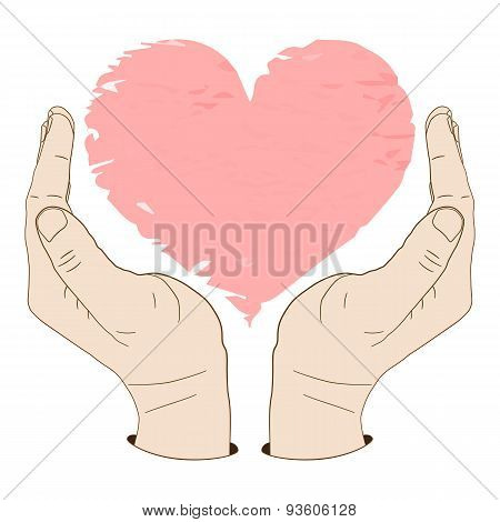 Palm up hands carefully protecting a heart or something else.