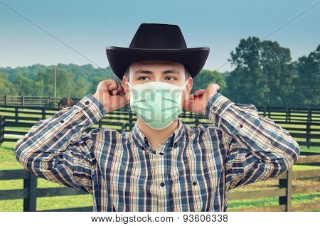 Cowboy vet in medical mask
