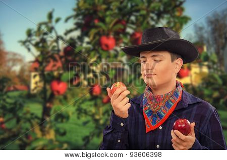 Cowboy in apple farm