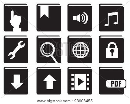 Books With Computer Icons Vector Icon Set