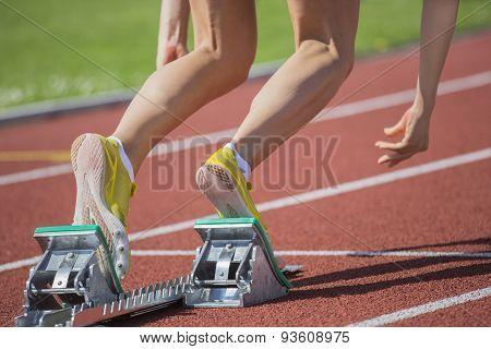 Female Runner Start Blocks