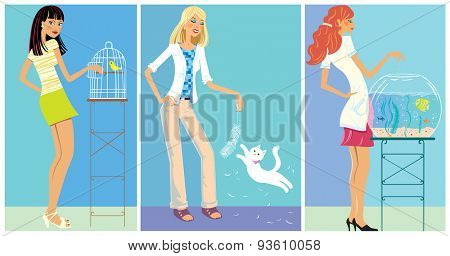 Set Illustration: Girls and with pets.