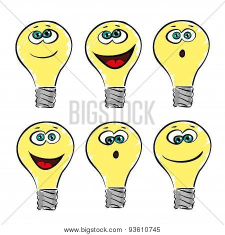 lightbulb emotions, smile vector collection or set