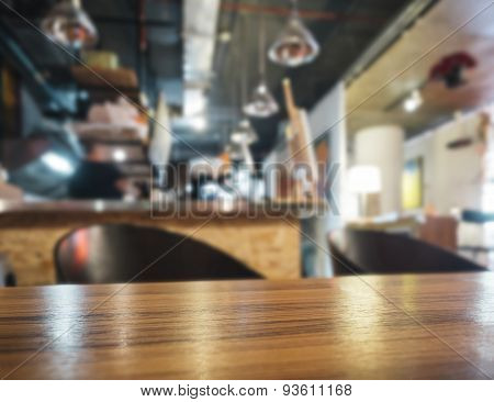 Table Top With Bar Counter Blurred Restaurant Background