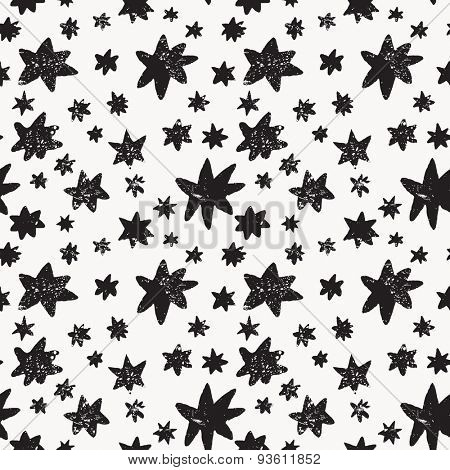 Awesome seamless pattern made of stars in vector. Lovely night sky concept background in black and white colors