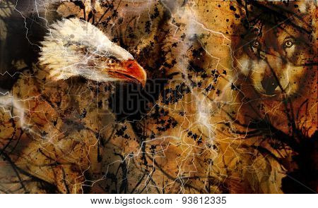 Wolf And Eagle Color Painting, Feathers Background, Multicolor Collage Illustration. White Lightning
