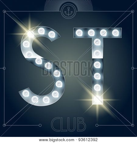 Futuristic vector lamp alphabet on glossy mirror background. Letters S T