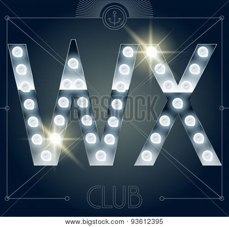 Futuristic vector lamp alphabet on glossy mirror background. Letters W X
