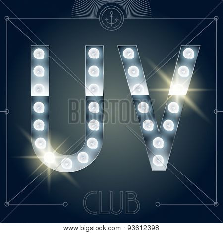 Futuristic vector lamp alphabet on glossy mirror background. Letters U V