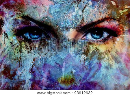 Women Eyes And Painting Color Effect, Make Up And Eye Contact
