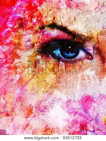 Blue Women Eyes Beaming Up Enchanting From Flower,on Pink Abstract Background..