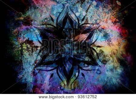 Flower Mandala And  Color Abstract  Background.