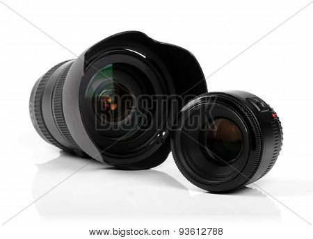 Two Photo Camera Lenses Isolated On White