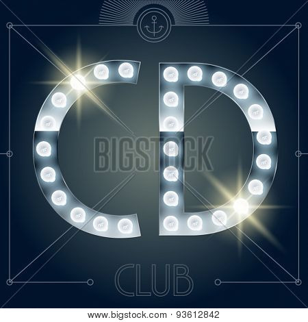 Futuristic vector lamp alphabet on glossy mirror background. Letters C D