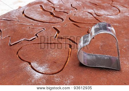 Shape Of Cookie Cutters And Dough For Gingerbread