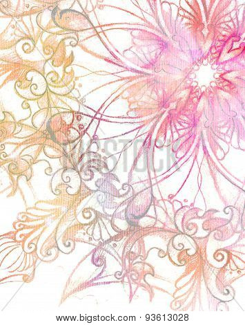 Pink Ornament Mandala And Fractal Color Effect.