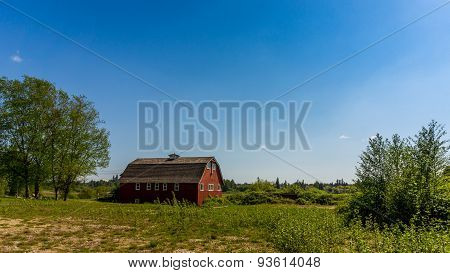 Red Barn in a Farmer's Field