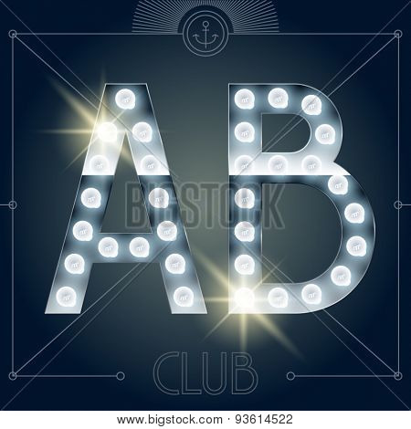 Futuristic vector lamp alphabet on glossy mirror background. Letters A B