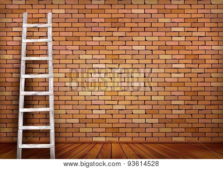 Brick background with a ladder. Vector.