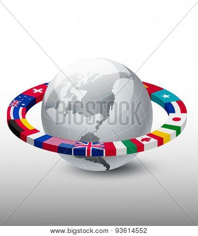 Travel background. Globe with a strip of flags. Vector.