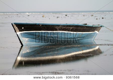 Blue Dhow Fishing Boat On The Ocean