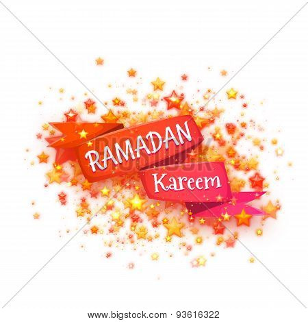 Banner with red ribbon and arabic lantern for holy month of muslim community Ramadan Kareem. Vector
